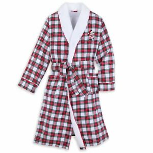 Disney Authentic Mickey Mouse Plaid Holiday Robe for Adults Size XXL 2XL NWT