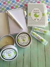 Lot of 6 Green Favours/Prizes for Baby Shower.  Candles, Lip Balm, Note Pads