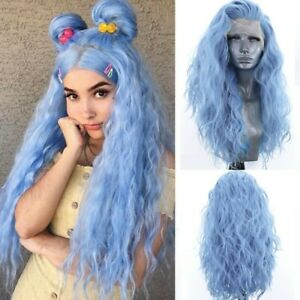 24inch Synthetic hair Lace front wigs Daily use Women Light Blue Long Wavy Curly