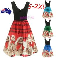 Womens Fashion Sleeveless Christmas Cats Musical Notes Print Vintage Flare Dress