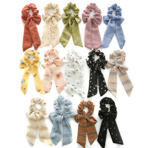 Women Dots Stripe Floral Print Chiffon Knotted Bow Elastic Scrunchie Hair Ring