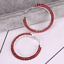 Women Double Row Crystal Rhinestone Hoops Round Big Earrings Ear Stud Jewelry
