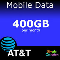 AT&T 400GB 4G LTE 5Ge No Contract Data Plan Monthly Rental for Hotspot or Tablet