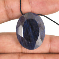 141.15 Cts Natural Royal Blue Sapphire 32mm Drilled Huge Pendant Size Gemstone