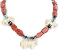 $300Tag Horse Certified Silver Navajo Bone Turquoise Coral Native Necklace 17090
