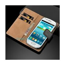 New Luxury Genuine Real Leather Flip Case Wallet Cover - Samsung Galaxy S3 Mini