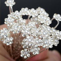 20pcs Pearl Flower Diamante Crystal Hair Pins Clips Prom Wedding Bridal Party