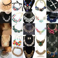 Lady Tasteful Luxury Crystal Statement Bib Pendant Choker Chunky Collar Necklace