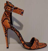 "NEW!! Steve Madden Angela Orange Sandals 4"" Heels Size 7.5M US 37.5M EUR"