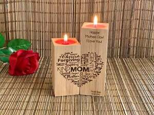 Custom Mother's Day, Gift for Mom Personalized Wooden Candle Holder, Word Heart