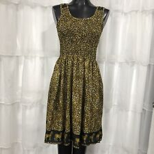 One Size OS - Vintage Smocked Leopard Animal Print Dress