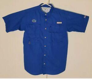 Columbia PFG Mens XL Florida Gators Button Front Vented Outdoor Fishing Shirt