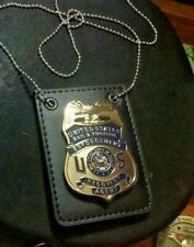 Fugitive Recovery Agent  MONEY  Clip style badge & leather holder blue US