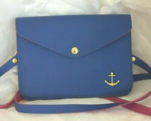 Top it Off Handbag Crossbody Purse Blue Gold Anchor Pink Lining Faux Leather