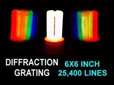 HUGE 6x6 INCH Diffraction Grating Sheet 25,400 Lines Per Inch,Laser Split LOOK!!