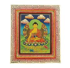 Bouddha Peinture sur Bois Tibetaine Nepal Tangka  5333