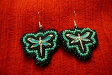 Beaded Dragonfly Sterling Silver Earrings - Native American