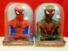 Set Of 2 Spiderman Coin Bank Marvel Ages 4+ Gift Christmas New In Domed Package