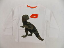 Crazy 8 Toddler T Shirt Long Sleeve Fire Breathing Dino Applique White 2T #4091