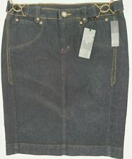 Bisou Bisou Dark Denim Collection Jean Skirt Size 8 Short Straight NWT
