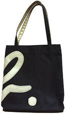 "Vtg AGNES B. VOYAGE Black Nylon Shoulder Tote Bag (White Vinyl ""b."" Appliqué)"