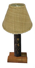 "Hawaiian Handcrafted Vintage 27"" Monstera Real Bamboo Lamp Lauhala Shade Hawaii"