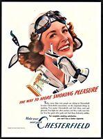 1940 AVIATRIX Female Lady Pilot in Goggles Vintage Chesterfield Cigarettes AD