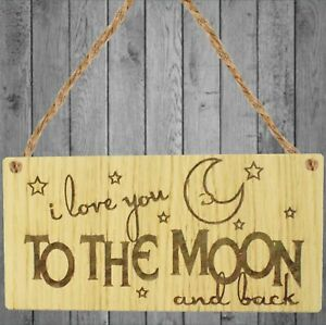 I love you to the moon and back Engraved Oak Plaque Mothers Day Father Birthday
