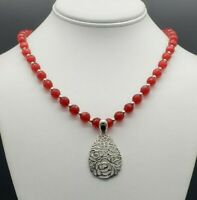 Genuine Ruby Red Agate Necklace Solid Sterling Silver Floral Pendant Beautiful !
