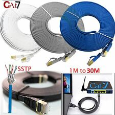 Gold Plated Cat7 RJ45 10Gbps Flat Ultra Thin Ethernet Network Patch Cable lot