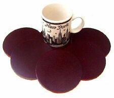 COASTERS LEATHER ROUND 6 pcs CHOCOLATE BROWN