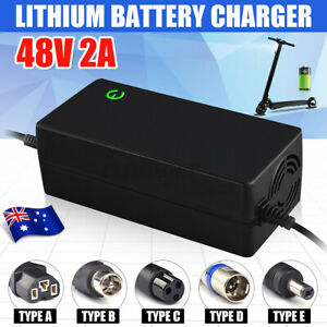 Electric Bike DC48V 2A Li-Ion Lithium Battery Charger Motorcycle Scooter Cycling
