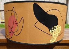 1953 Alladin Lamp Shade Mid Century Modern Tan, Pink, Black ATOMIC ABSTRACT