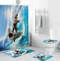 Jaws Bear Bath Rug Set Shower Curtain Thicken Bath Mat Non-Slip Toilet Lid Cover