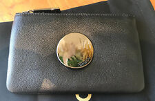 Mimco Black Waver small leather pouch clutch wallet gunmetal authentic new