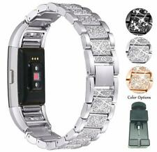 Compatible Fitbit Charge 2 Band with Bling Rhinestone Metal Bracelet Replacement