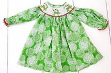 Cukees Smocked Holiday Dress Size 6 Months Reindeer Green Cotton Boutique Girls
