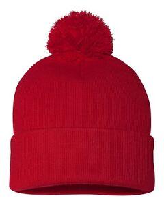 "Sportsman Pom Pom Knit Cap SP15 12"" Beanie Winter Hat Team School Colors"