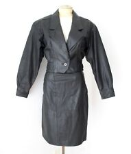 Vgc Vtg 80s Punk New Wave Black Leather 2-Pc Skirt Cropped Moto Jacket Suit S