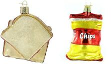 OLD WORLD CHRISTMAS SNACK FOOD ORNAMENT LOT OF 2 - CHIPS + PEANUT BUTTER JELLY