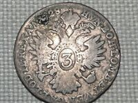 Austria Empire Hapsburg Franz II 3 Silver Kreuzer 1828 Crowned Double Head Eagle
