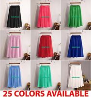 Women Maxi Skirt Chiffon Double Layer Pleated Retro Long Dress Elastic 60cm Long