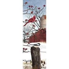"Billy Jacobs ""Snowfall"" Cardinal Chickadee Print 6"" x 18"""