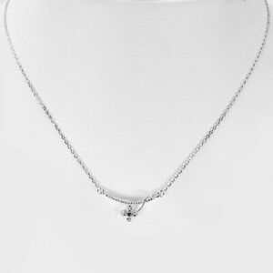 925 Sterling Silver Necklace Jewelry with CZ Flower Design Length 17 Inch.