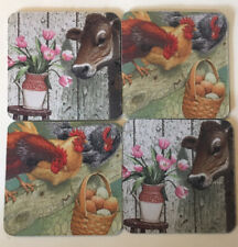 4 Longaberger Neoprene Coasters With Cows And Chickens On The Farm