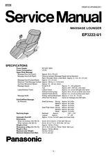 Panasonic EP3222 Massage Lounge Chair Service Manual Repair Guide