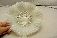 FENTON HOBNAIL MILK GLASS CLEAR SCALLOPED EDGE DISH
