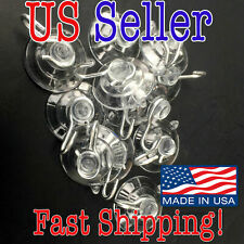 """Suction Cups with Metal Hook, Clear, 1 1/8"""" Diameter, 10-Pack US Seller Fast Shi"""