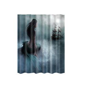 "Fabric Shower Curtain Mermaid Waterproof Bathroom Drapes Divider Panel 71"""