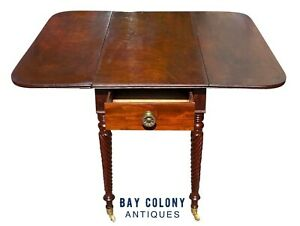 19TH C ANTIQUE SHERATON MAHOGANY DROP LEAF TABLE W/ ROPE CARVED LEGS